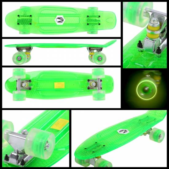 Penny Board Maronad Retro Transparent W/ Light Up Wheels, Verde