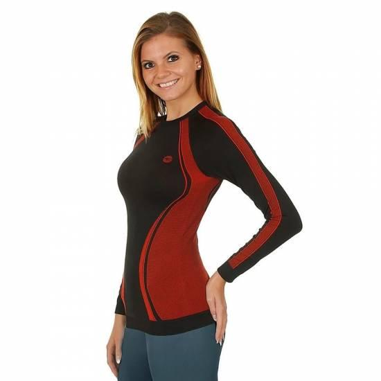 Bluza termica HI-TEC Lady Rico, Negru/Rosu