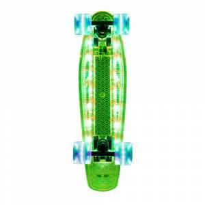 Penny Board cu placa LED si roti LED WORKER Lumy 200, VERDE