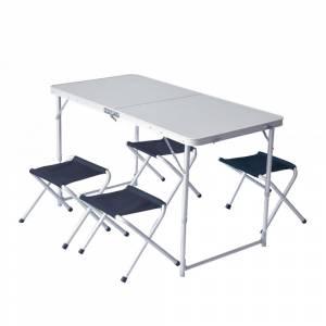 Set masa si patru scaune pliante PINGUIN Gri Petrol