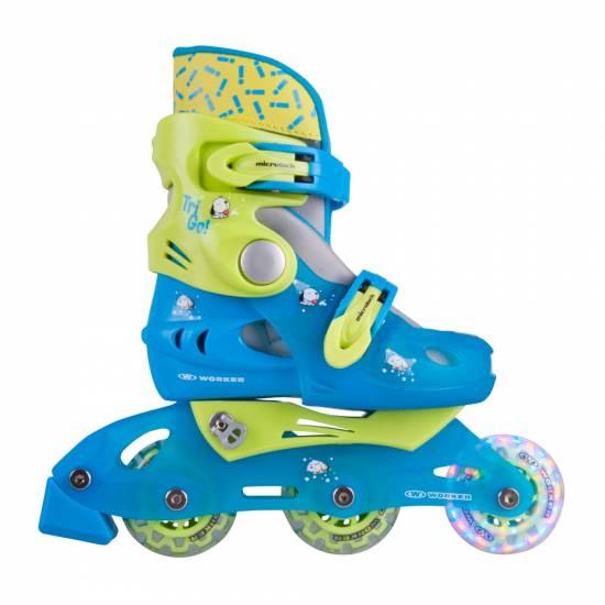 Role copii WORKER TriGo Skate LED, Albastru