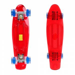 Penny Board Maronad Retro Transparent W/ Light Up Wheels 22, Rosu