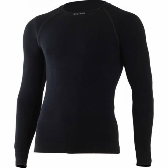 Bluza termica  din lana pentru barbati LASTING Wolf, Negru