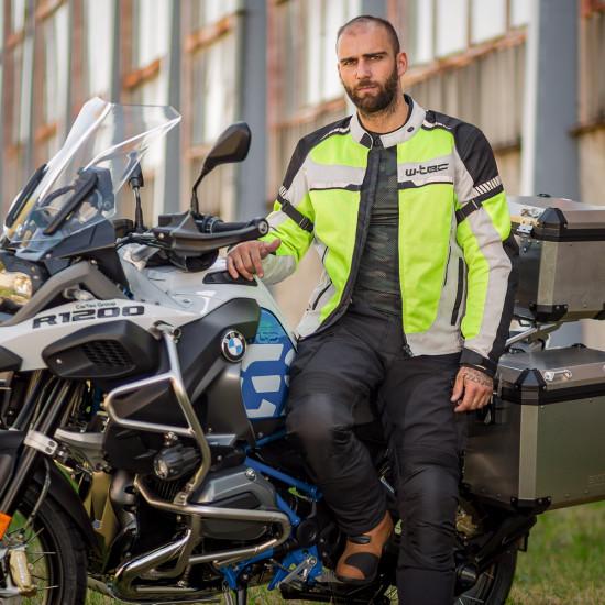 Geaca de motocicleta de vara pentru barbati W-TEC Saigair, Galben Neon/Gri